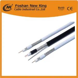 Factory RG6 Coaxial Cable 1.02mm Cu, 4.8mmfpe, 64*0.12mmal-Mg, 6.8mm Black PVC for CCTV
