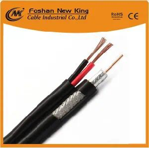 Copper Conductor CCTV CATV Antenna Cable RG6 Coaxial Cable with Two CCA Power Cable (RG6+2DC)